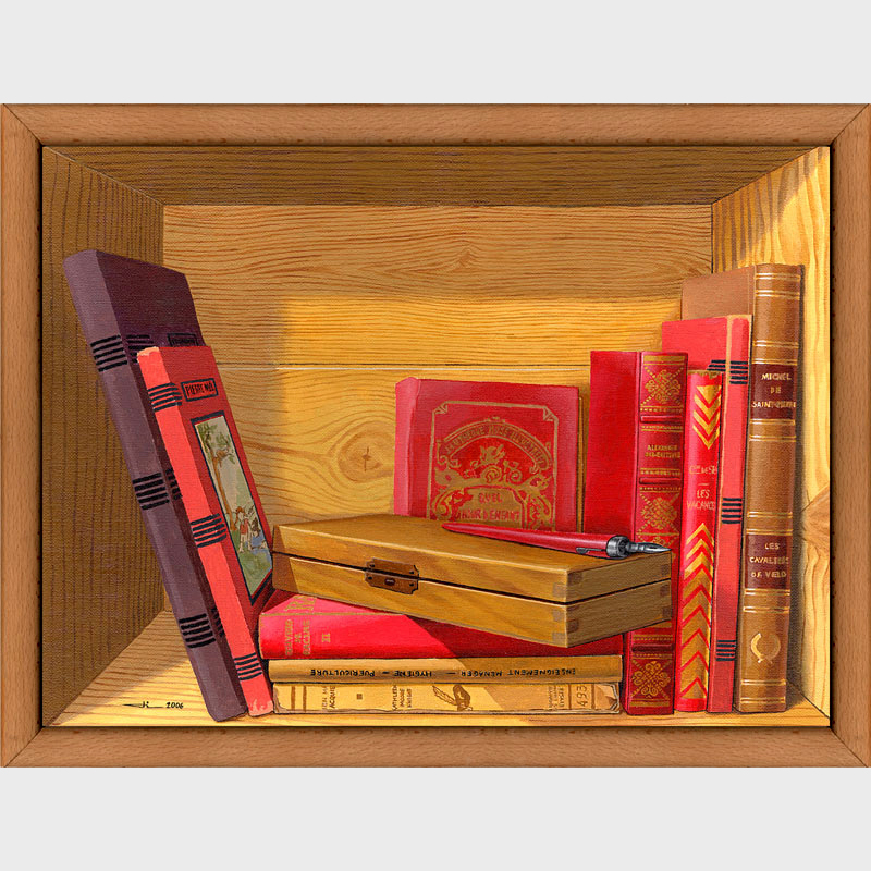 Trompe l'oeil de livres anciens, d'un plumier et d'un porte plume.