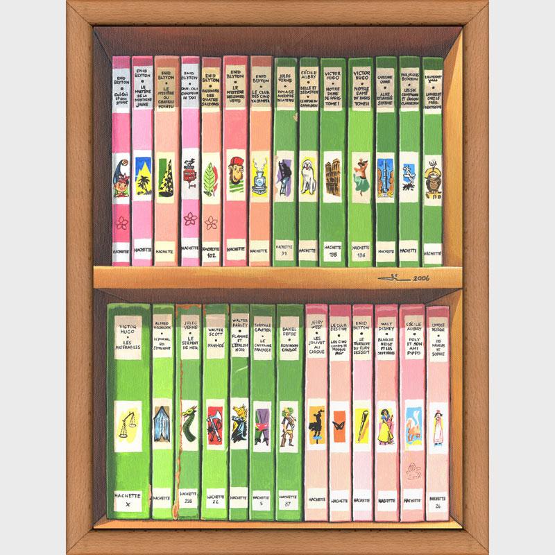 Bibliothèque rose et verte
