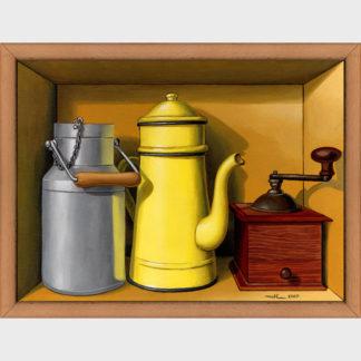 Peinture en trompe l'œil d'un café au lait au petit déjeuner avec un pot de lait, une cafetière et un moulin à café.