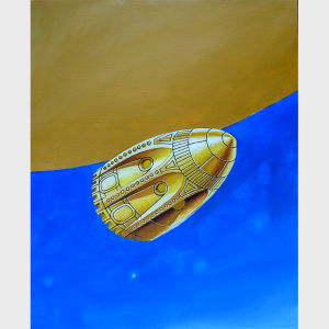 """L'engin spatial en forme d'obus inspiré du roman """"De la terre à la lune"""" de Jules Verne"""