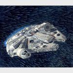 """D'après la série de films """"Star wars"""", le vaisseau spatial le """"Faucon millénium"""" en saut hyperspatial sur fond d'étoiles"""