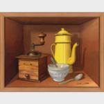 Peinture en trompe l'œil d'un petit déjeuner avec un pot de lait, une cafetière d'un moulin à café et de cuillers.