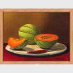 Nature morte d'un plat de melons