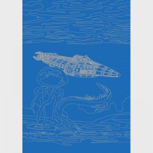 """Le sous-marin """"Nautilus"""" du capitaine Némo observé par des créatures marines extrait du roman de Jules Verne """"20000 lieues sous les mers"""""""""""