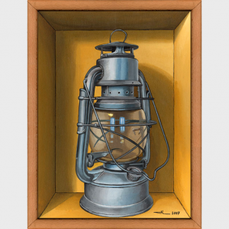 À l'aube, la lampe à pétrole de type tempête