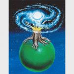 Un arbre aux feuilles de galaxie posé sur une sphère verte sur un fond étoilé.