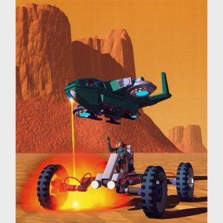 Combat entre un buggy et un engin volant dans un désert