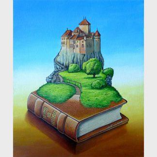 Image surréaliste d'un livre et d'un escalier débouchant sur un château