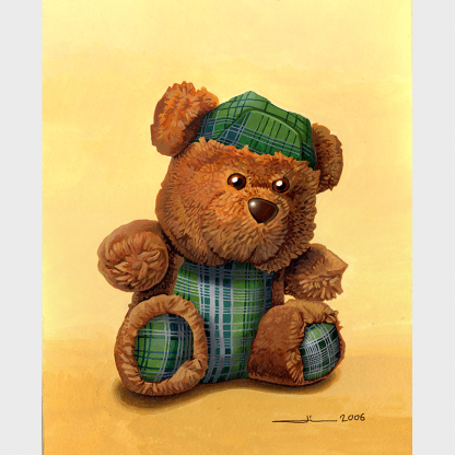 """Peinture de peluche """"L'ours écossais"""""""