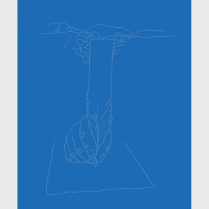 Image surréaliste d'une main, d'une plume composants une source d'inspiration