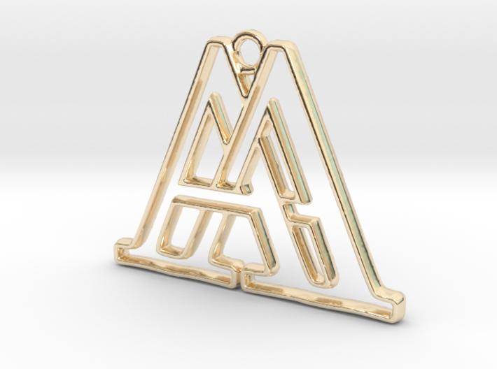 Pendentif d'un monogramme avec les initiales A&A en or 14 carats