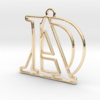 Pendentif d'un monogramme avec les initiales A&D imprimé en 3D et en or 14 carats par Shapeways.com