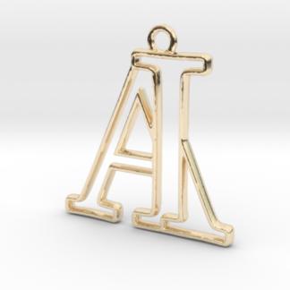 Pendentif d'un monogramme A&I en or 14 carats