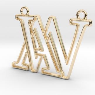 """""""A&X initiales en contour"""" imprimé en 3D"""