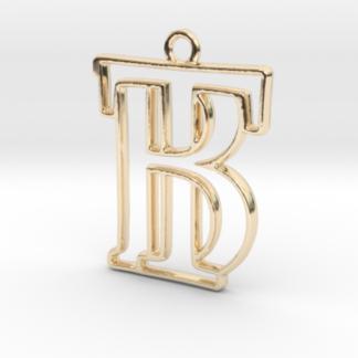 Pendentif d'un monogramme avec les initiales B&T imprimé en 3D et en or 14 carats par Shapeways.com