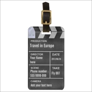"""Étiquette de bagage """"clap cinéma"""" à personnaliser"""