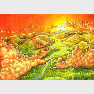 """Dessin aux crayons de couleurs """"Au dessus des nuages"""""""