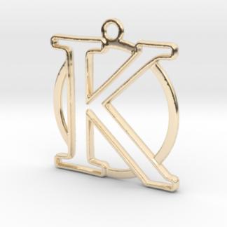 """""""K initiale en contour et anneau"""" imprimés en 3D"""