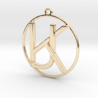 """""""K&J initiales et anneau"""" imprimés en 3D"""