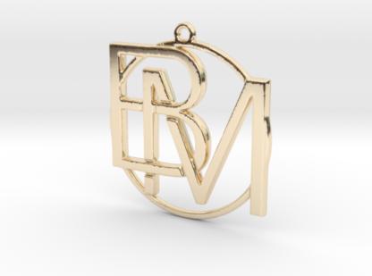 B&M initiales et anneau imprimés en 3d