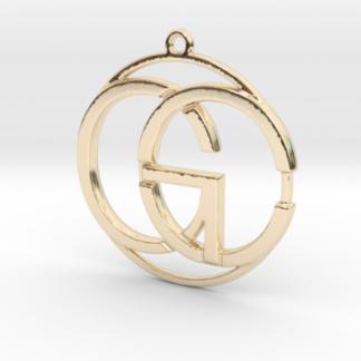 C&G initiales et anneau imprimés en 3d