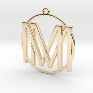 M&M initiales et anneau imprimés en 3d